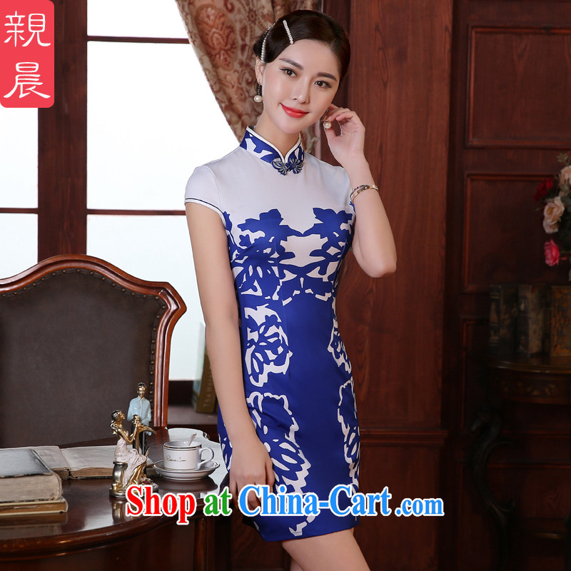 The pro-am 2015 as soon as possible new summer day retro Ethnic Wind improved stylish beauty short cheongsam dress short 2 XL - waist 80 CM