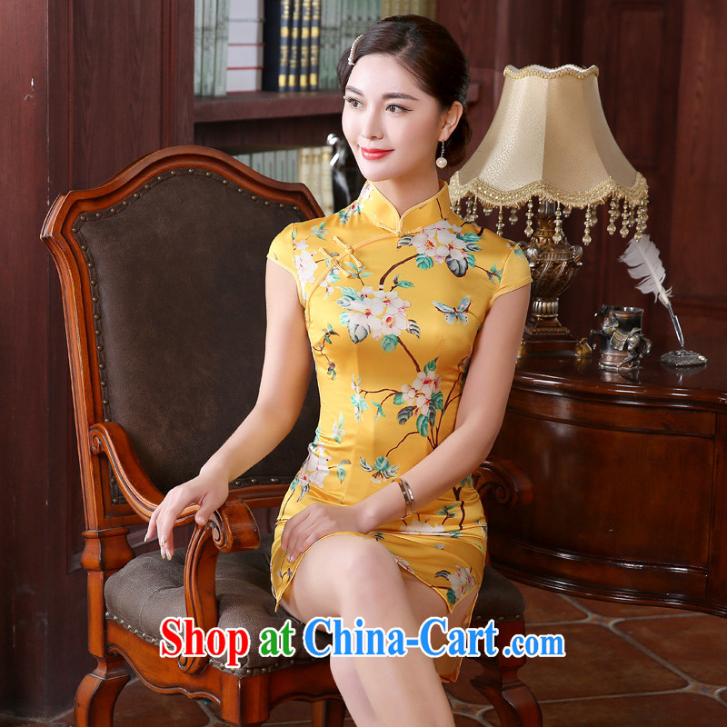 The pro-am 2015 as soon as possible new summer day dress retro improved stylish beauty short cheongsam dress dresses short S - waist 67 CM