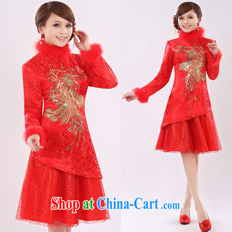 married love marriages served toast 2015 new dress cheongsam dress short-sleeved red, long-sleeved retro red cheongsam winter clothes girls red XL