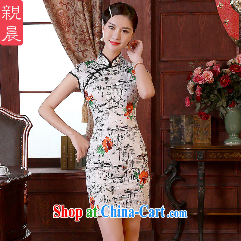 The pro-am 2015 as soon as possible new summer day retro traditional improved Beauty Fashion short cheongsam dress dresses short 2 XL - waist 84 CM