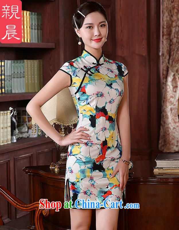 The pro-am 2015 as soon as possible new summer Daily Beauty antique traditional improved stylish short cheongsam dress dresses short 2 XL - waist 84 CM