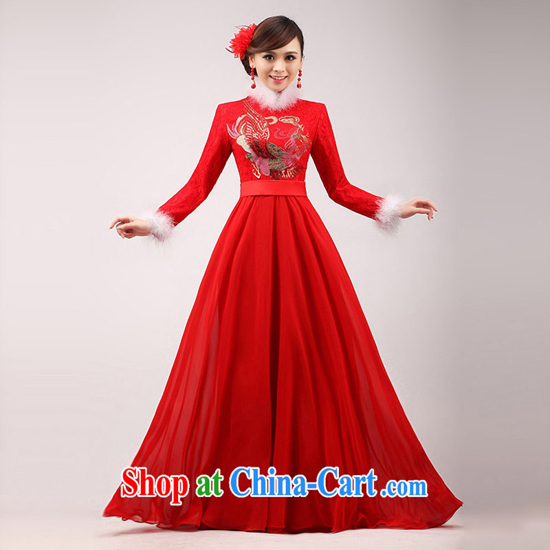 married love marriages served toast cheongsam 2015 New Red quilted long long-sleeved qipao Chinese improved winter clothing female white hair collar XL