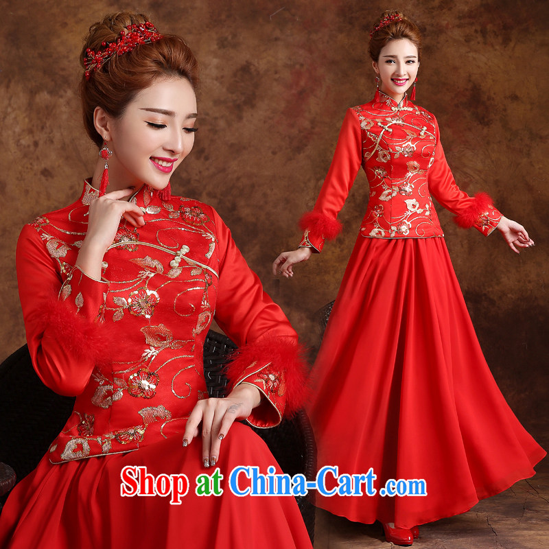 married love marriages served toast dresses 2015 new long, long-sleeved retro style improved marriage dress winter red XXL