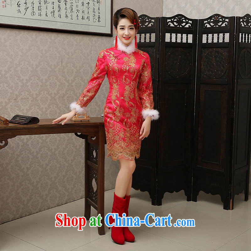 Bridal Fashion toast clothing dresses 2015 new short-sleeved red, long-sleeved retro improved marriage dress winter clothing red bows service XXL