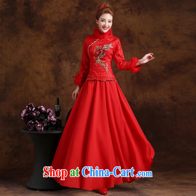 Marriage is really love winter toast Service Bridal Fashion 2015 New Red wedding dresses skirt long-sleeved Chinese winter clothes dress long red XXL
