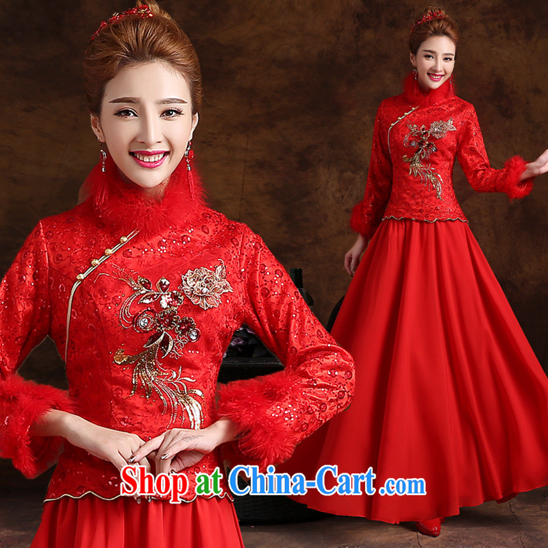 Marriage is really love winter toast Service Bridal Fashion 2015 New Red wedding dresses skirt long-sleeved Chinese winter clothes dress long red XXL, married love, shopping on the Internet
