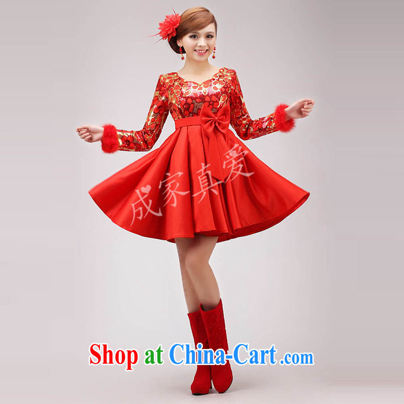 married love marriages served toast 2015 new wedding short, long-sleeved qipao gown red high waist pregnant women winter clothing female Red XL