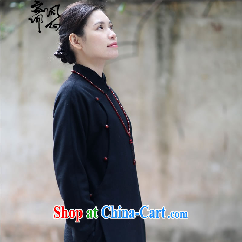 q heart Id al-Fitr _Yue heart health female spring new Chinese Zen dresses Chinese design gowns literati style 1827 Diane black L