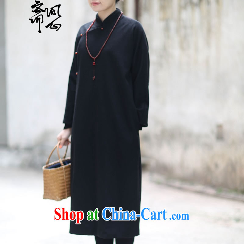 q heart Id al-Fitr (Yue heart health female spring new Chinese Zen dresses Chinese design gowns literati style 1827 Diane black L, ask a vegetarian, shopping on the Internet