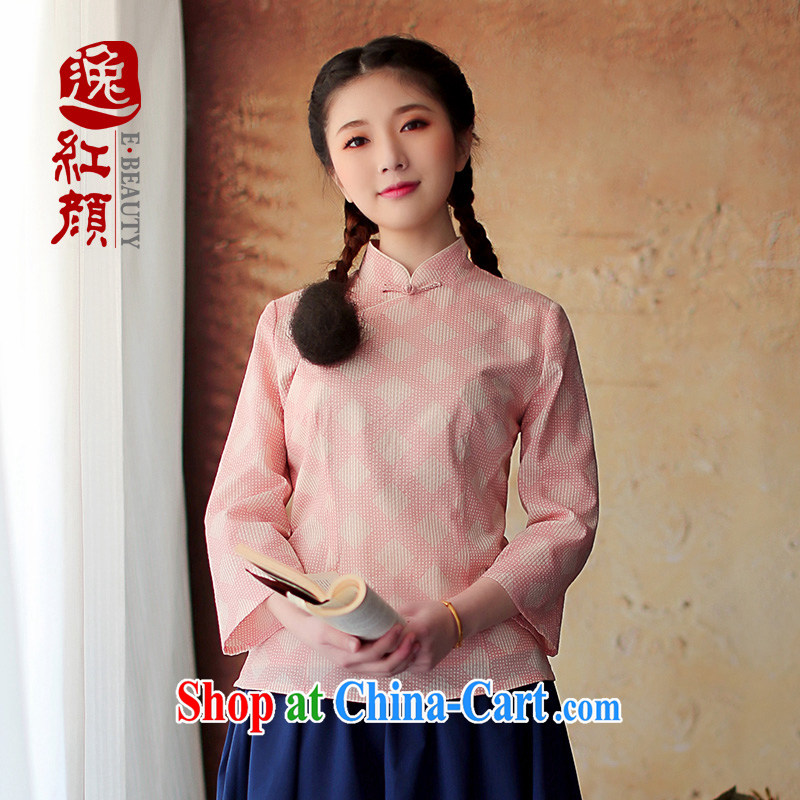 proverbial hero once and for all his original Chinese Chinese, improved cheongsam shirt fall and winter with new ethnic wind pink M