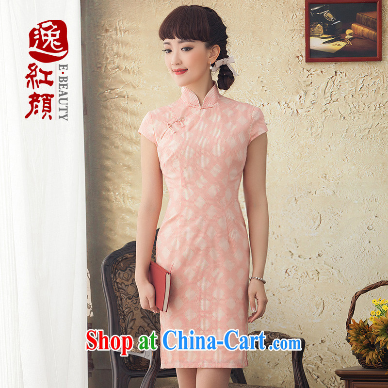 proverbial hero once and for all His pure cotton cheongsam dress summer improved stylish cotton cultivation the cheongsam dress retro pink 2 XL