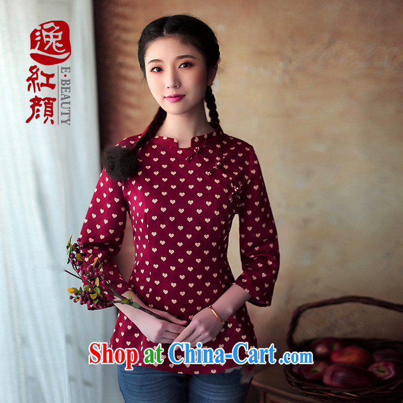 once and for all and fatally jealous in silk cuff in improved cheongsam shirt Tang replace Ms. cuff in autumn and the new National wind scarlet 2XL