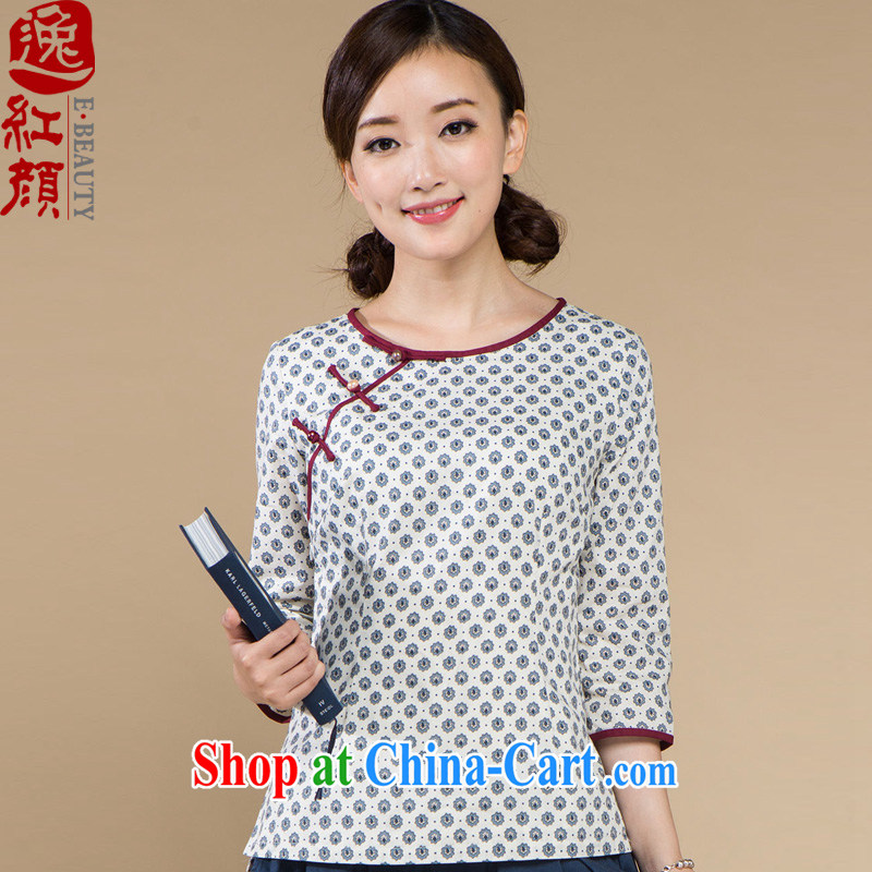 The proverbial hero once and for all as soon as possible the fine Chinese autumn Ms. loaded T-shirt Ethnic Wind Chinese female Chinese wind-Tie long white XL