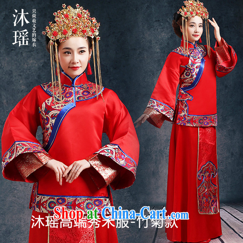The MU Ms. Yao Su-wo service -- 2-Piece long sleeved long sleeved water-tight bridal 2015 spring new-soo and Phoenix also Chaoshan wedding bamboo Ju, XL chest of more than 96 for