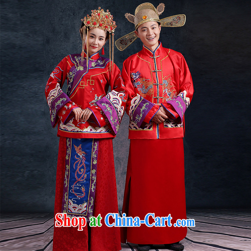Mu, Ms. Yao Su-wo Kit 2 piece set long-sleeved long sleeved water-tight bridal 2015 spring new men and women, with classical Chinese style wedding men and women 2 XL chest of more than 95 for