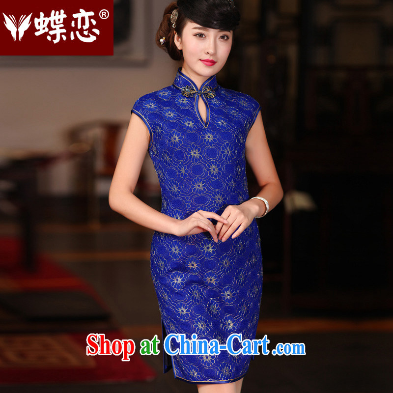 Butterfly Lovers spring 2015 the new, improved and stylish everyday cheongsam dress retro drops short dresses, 51,207 gold XXL