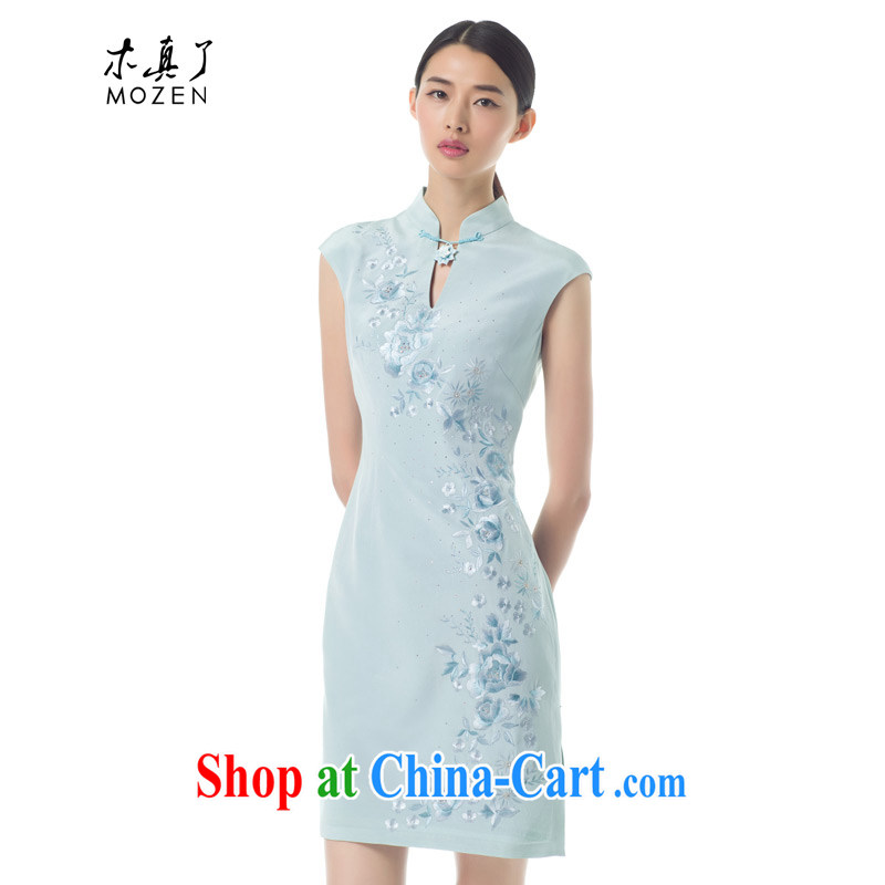 Wood is really the Chinese 2015 summer new Chinese Embroidery Silk Cheongsam dress fashion dress 42,945 11 blue XL