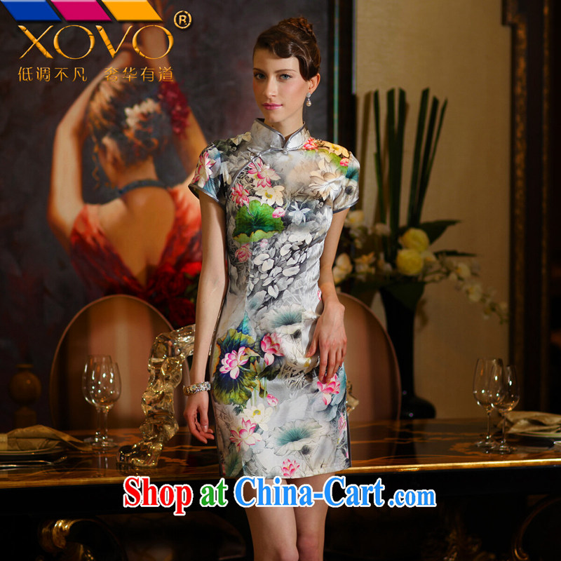 XOVO upscale female summer new, improved stylish short-sleeved Silk Cheongsam Dress Shirt retro Silk Cheongsam dress water and ink I should be grateful if you would XL