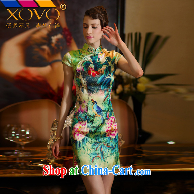 XOVO big ladies' 2014 summer improved stylish heavy Silk Cheongsam shirt retro sauna Silk Cheongsam green garden Peony XXL