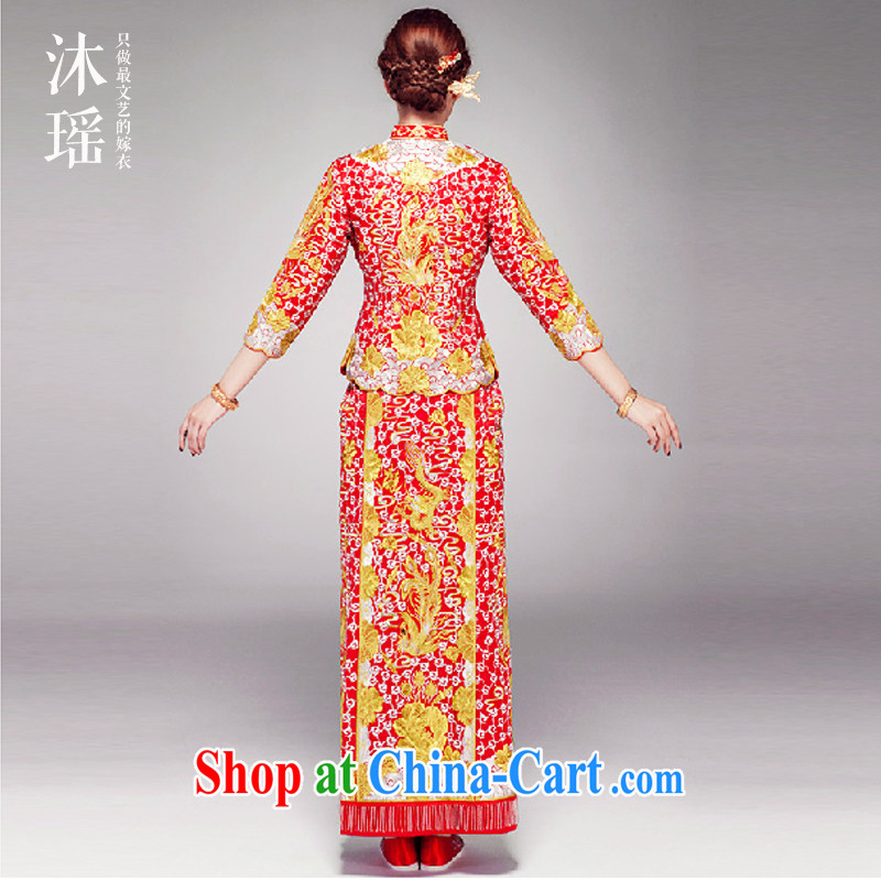 Mu Yao bridal large 5 well Phoenix and long-sleeved long Chinese bows service embroidery t-shirt fit skirt large, future with a long 0909 embroidery 5 well XL brassieres 96 CM