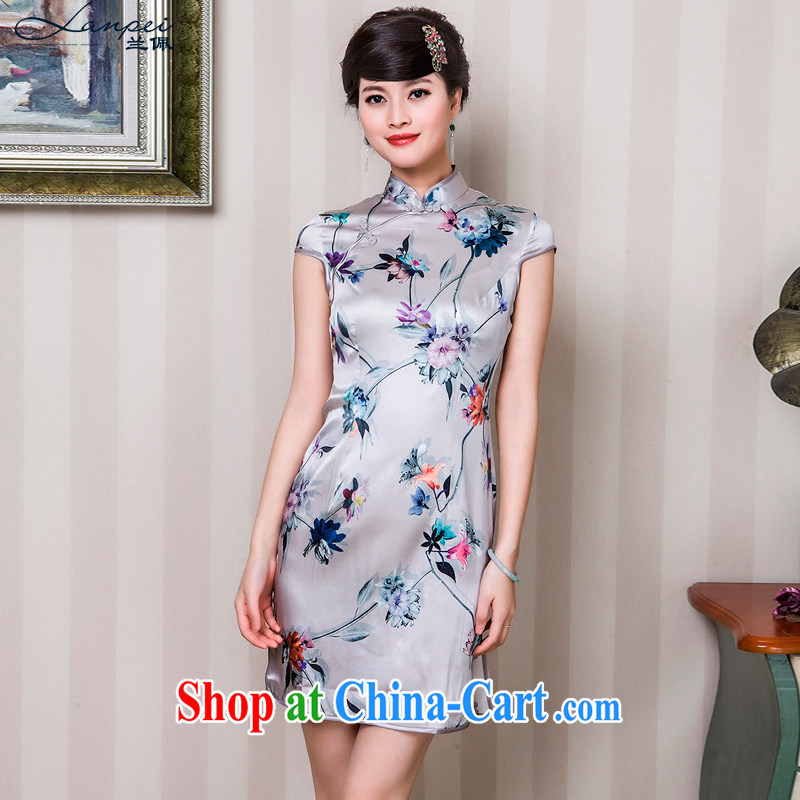 Heavy Silk Cheongsam dress, wear 2015 summer new retro stamp cheongsam white L