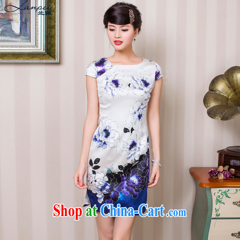 Perry, summer 15 New Silk short stylish retro dresses white XXL
