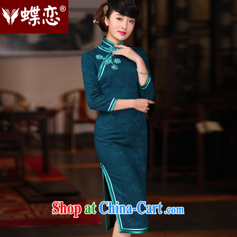 Butterfly Lovers 2015 spring new retro Daily, Chinese qipao improved stylish long cheongsam dress 51,218 ink, spring loaded new pre-sale 20 days out XXL