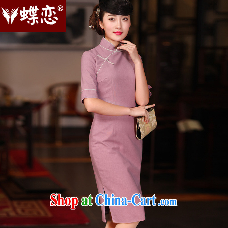 Butterfly Lovers 2015 spring new stylish upgraded cuff daily outfit-retro long cotton skirt the cheongsam 51,217 purple XXL