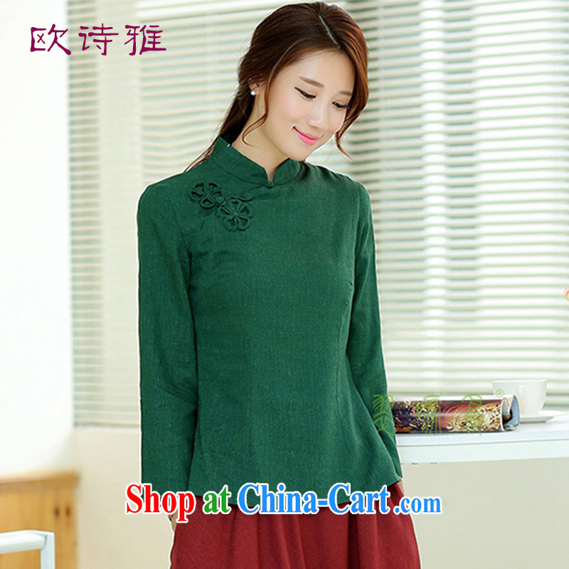 by Ms Audrey EU's 2015 female new Ethnic Wind retro T-Shirt is a hard drive for the basket 9 cuff Tang women 3009 green L
