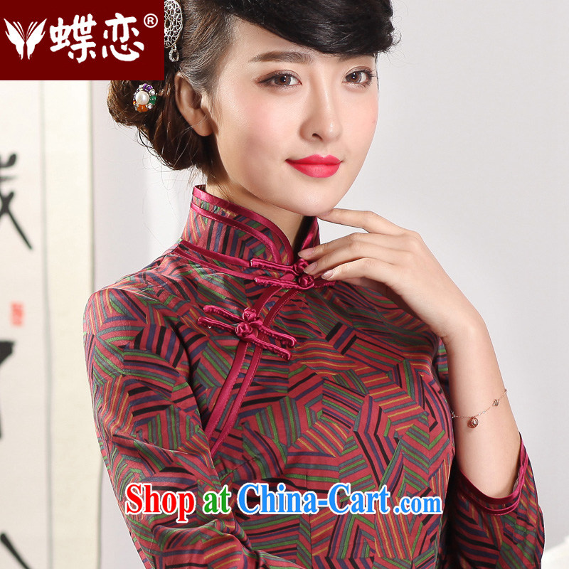 Butterfly Lovers 2015 spring new improved stylish outfit manual tray buckle long, fragrant cloud yarn Silk Cheongsam dress 51,225 geometry spring new pre-sale 10 days out XXL