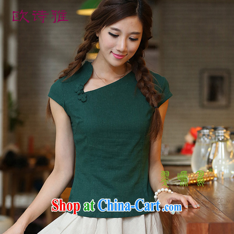2015 spring new retro Ethnic Wind crescent moon linen collar short-sleeved hand tie Chinese qipao T-shirt green XXL