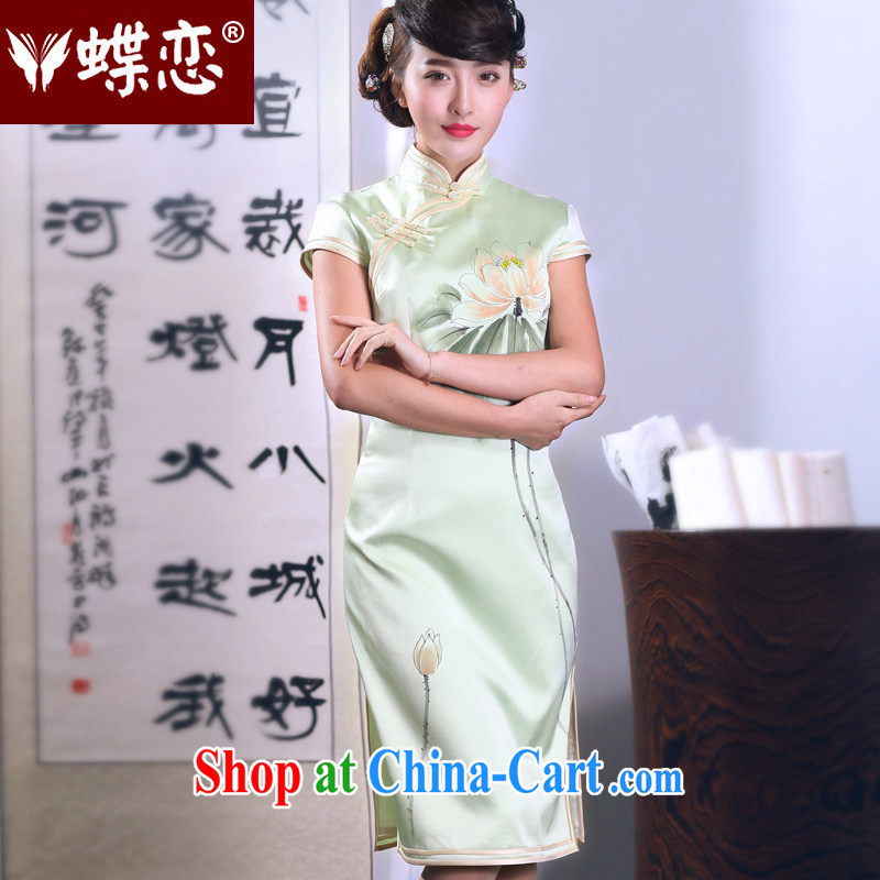 Butterfly Lovers 2015 spring new retro improved stylish dresses hand-painted sauna silk Silk Cheongsam dress 51,288 green XXL