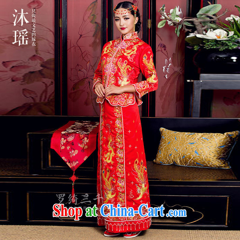 Mu Yao bride Chinese bows serving Phoenix and long-sleeved costumes dress wedding small 5 well embroidery hand sewing, red XL chest of more than 92 for