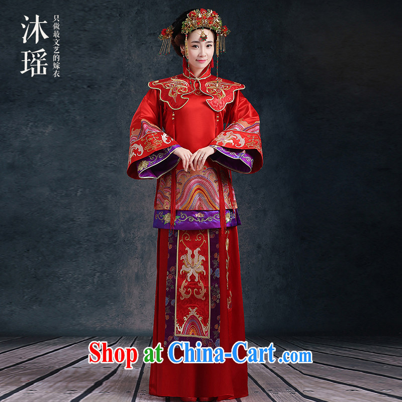 Mu Yao bridal toast serving Sau kimono-su Wo long-sleeved long nuptials Grand Prix Chinese wedding costumes 2 piece spring and summer wedding classical wind wo service red XL chest of more than 110 for