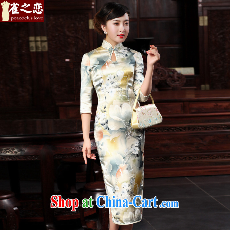 Birds of the land of the Viiv 2015 spring new improved stylish 7 cuff retro long Silk Cheongsam dress pastel colors XXL