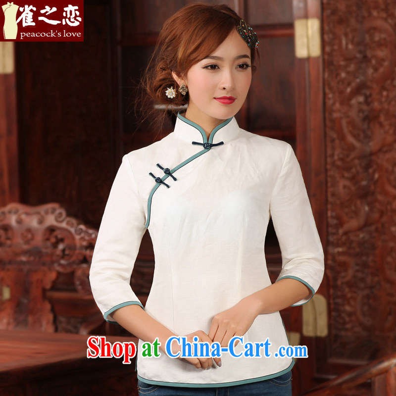 Birds love the Wait For Spring 2015 new stylish retro 9 cotton cuff the cheongsam shirt white XXXL
