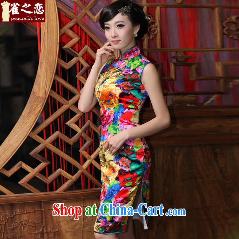 Birds love, 100_ quality lb Silk Cheongsam dress improved stylish sleeveless dresses retro QD 183 paintings XXL