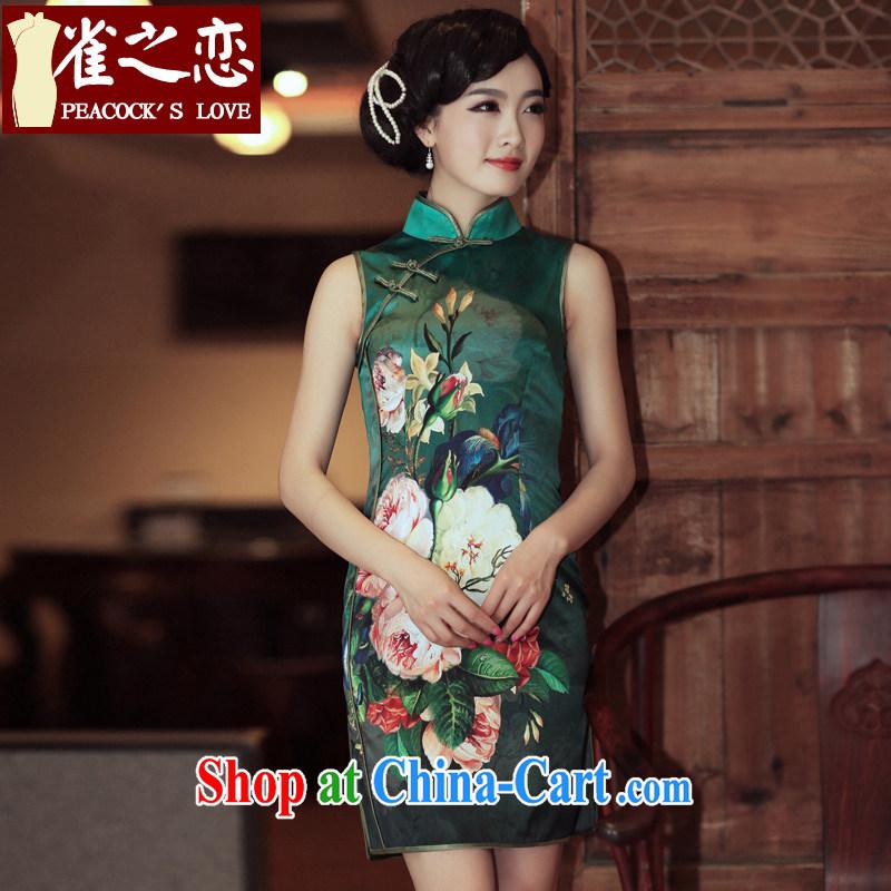 Birds love the Summer 2014 summer high sauna silk sleeveless short retro Silk Cheongsam QD XL 301