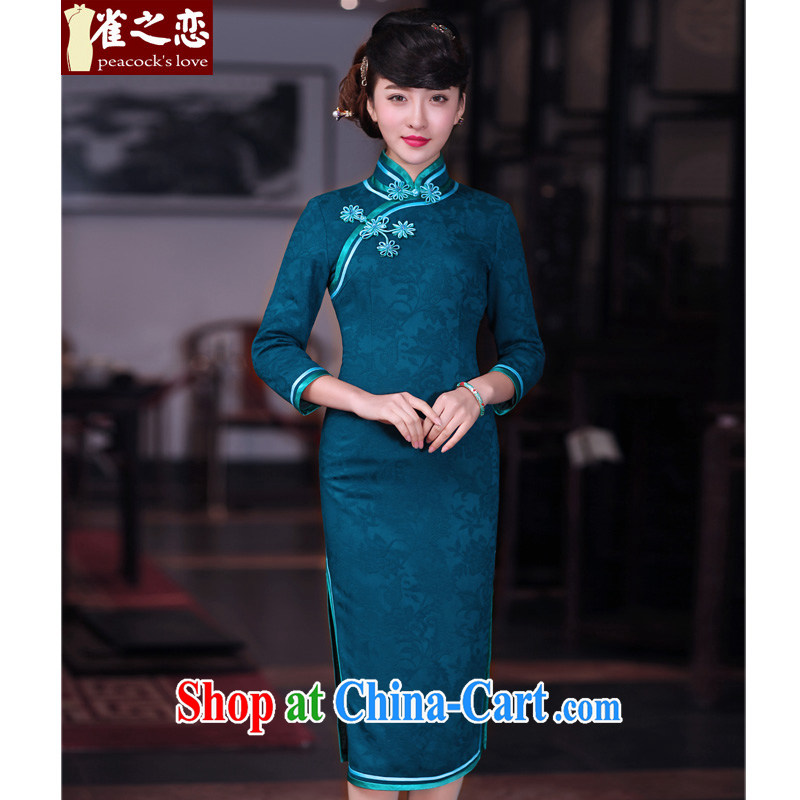 Birds love drunk shadow neon 2015 spring new dual-edge retro long cheongsam dress female QC 680 blue L