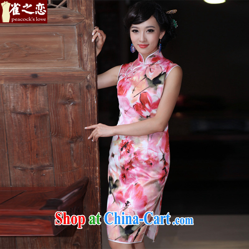 Bird lovers of flower shadow trace heavy silk facade Lotus outfit improved stylish daily short Silk Cheongsam pink XXL