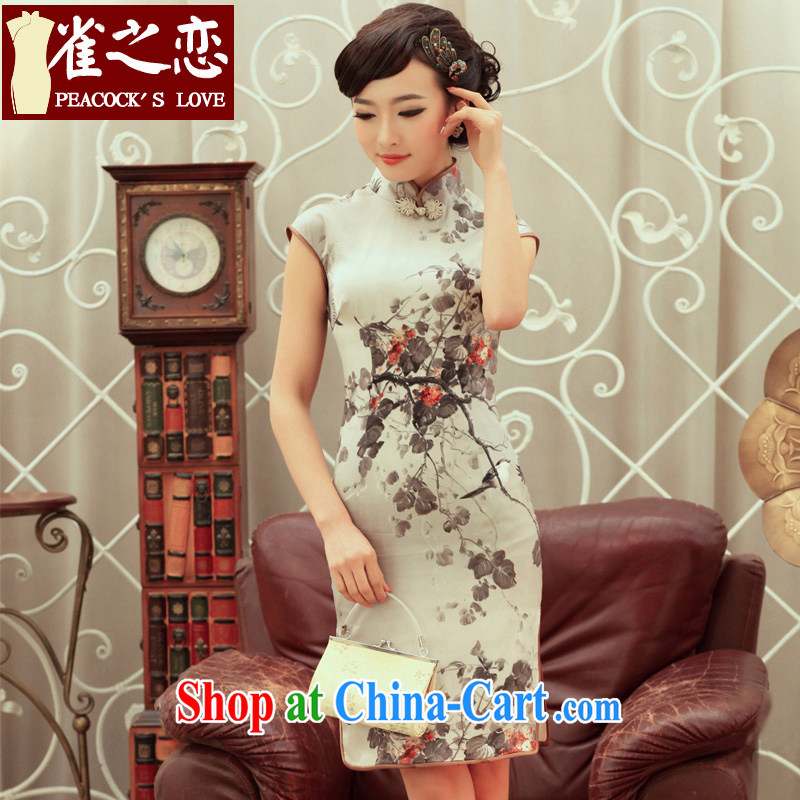 Birds love the dye 2015 spring and summer with new stylish improved quality silk cheongsam dress QC 236 gray XL