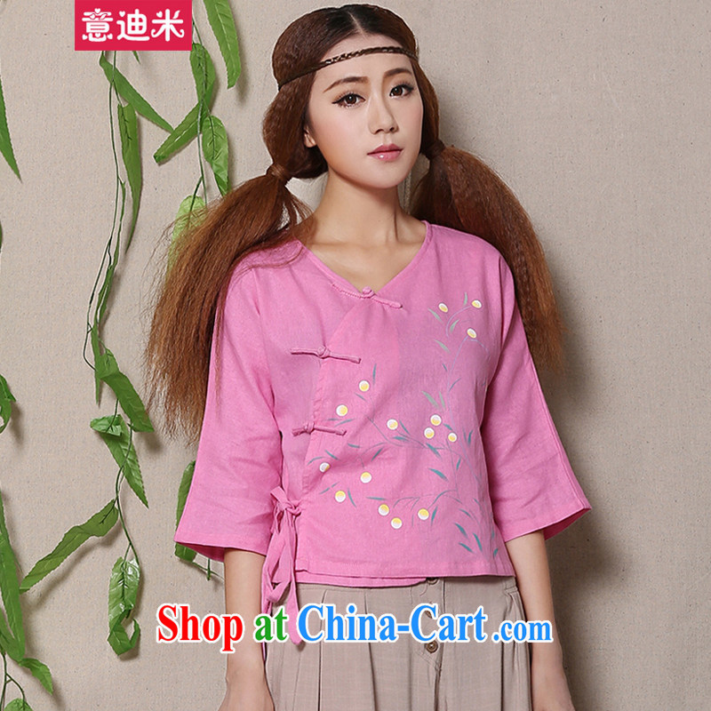 To achieve M 2015 fresh arts 100 ground Chinese female Chinese T-shirt 1136 photo color XL