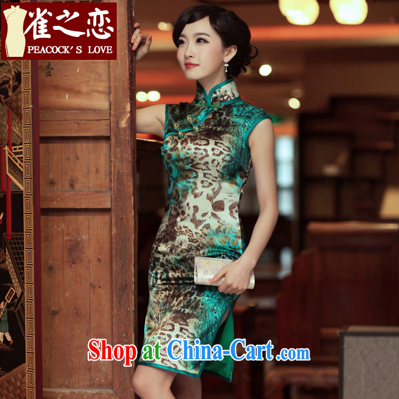Birds love Valentine love birds 2015 spring and summer improved short, high quality silk Leopard cheongsam QD 269 figure XXL - pre-sale 7 days