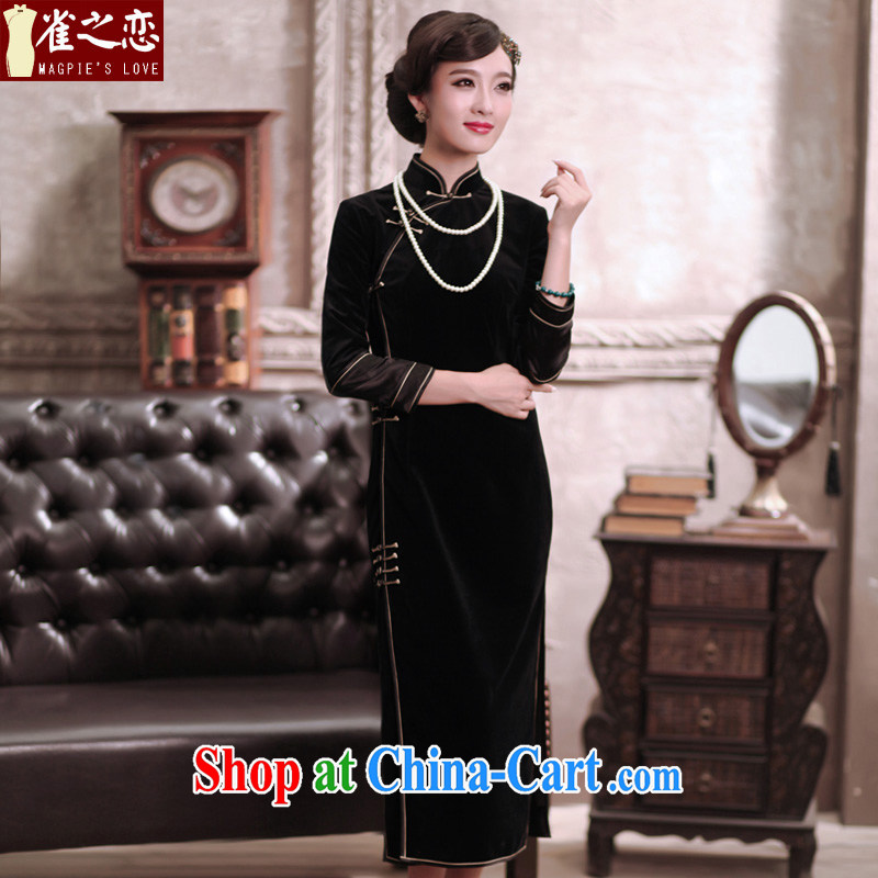 Birds love and heart 2015 spring Noble and elegant long pure velour cheongsam QC 375 black XXL