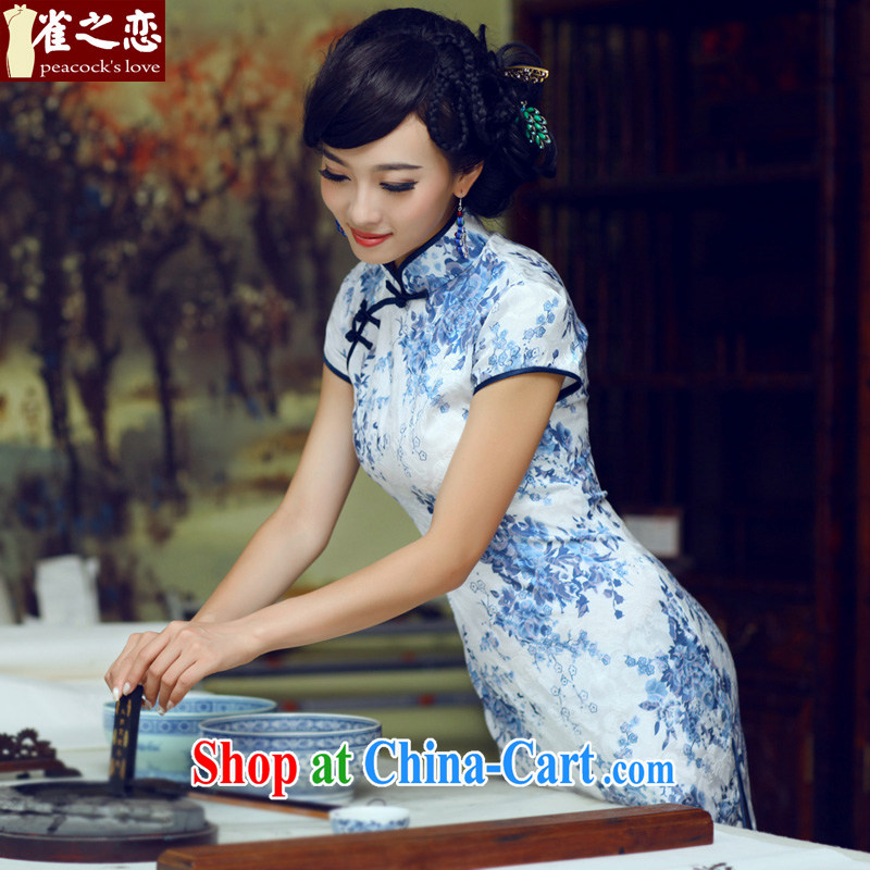 Bird lovers of blue and white porcelain 2015 summer new Stylish retro elegant beauty, short-day cheongsam dress blue XXL