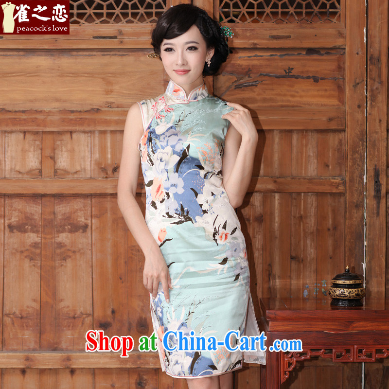 One of such land is not Cox's 2015 spring and summer new dual-edge retro short, heavy Silk Cheongsam dress QD 325 figure XXXL
