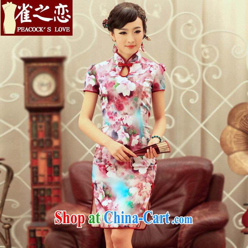 Birds love dreams, Peach Blossom Spring 2015 spring and summer new bubble cuff improved stylish Silk Cheongsam QD 240 fancy XL