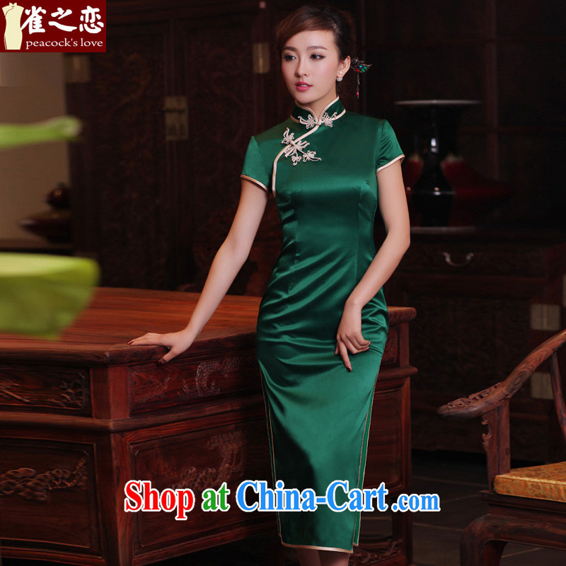 Bird lovers of green micro 2015 spring and summer 100% silk short-sleeved retro long cheongsam QD 302 dark green long XXL