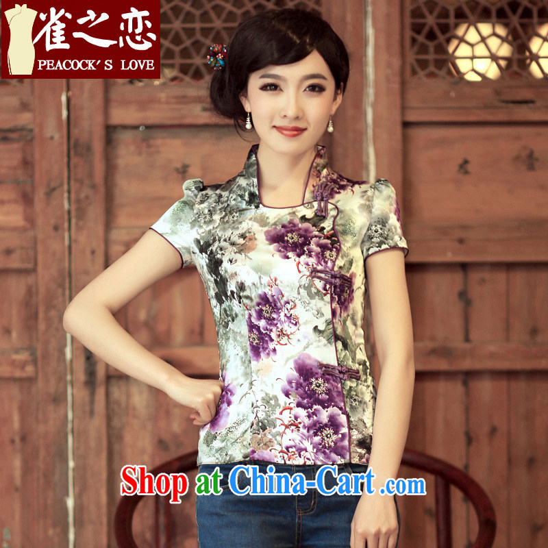 Birds of the land breeze play 2015 spring and summer short-sleeved silk flowers spray short cheongsam shirt QD 317 fancy XXL