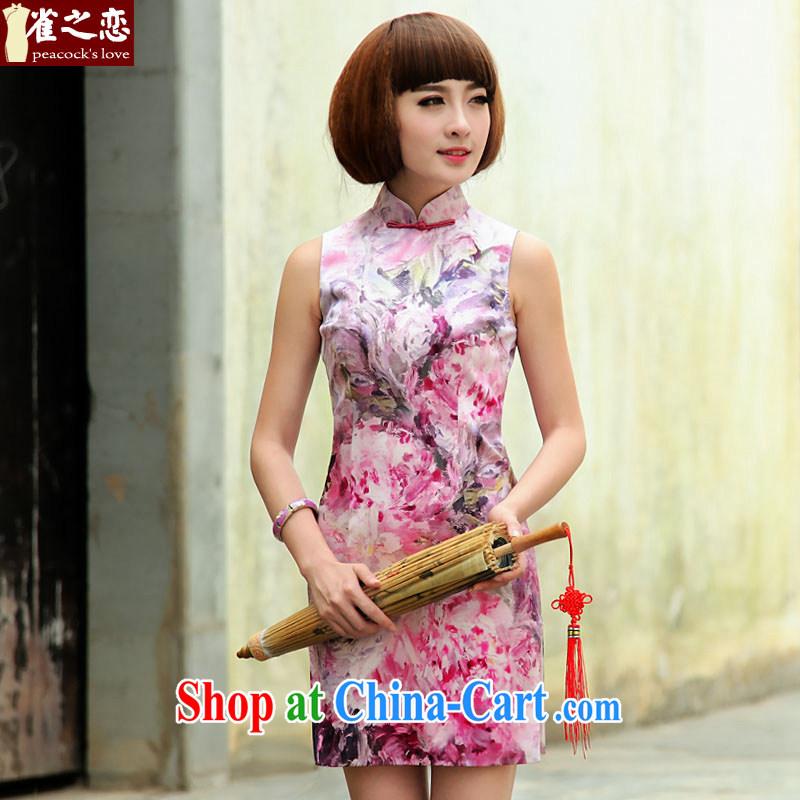 Birds love curtain move drunk film 2015 spring and summer new improved stylish short sleeveless Silk Cheongsam QD 504 fancy XXL